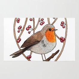 Christmas winter robin Rug
