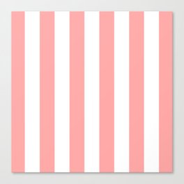 Coral Pink Stripe Vertical Canvas Print