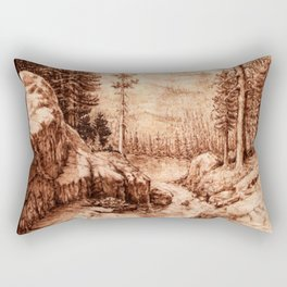 Pyrography Forest River Nature Mountain Burned Wood Rectangular Pillow