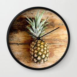 Pineapple on woodgrain Wall Clock