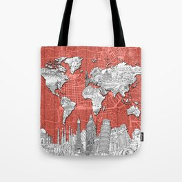 world map city skyline 9 Tote Bag
