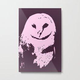 Barn Owl Tyto Alba Purple/Pink Metal Print