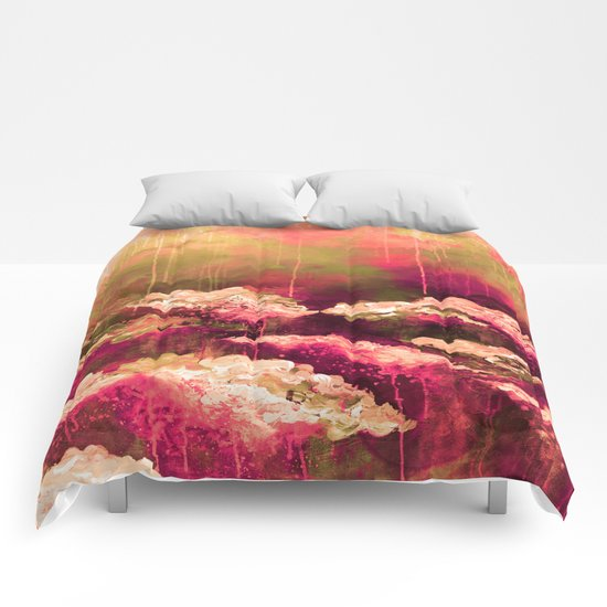 IT'S A ROSE COLORED LIFE 2 - Colorful Floral Garden Chic Abstract Pink White Olive Green Painting Comforters