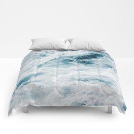 sea - midnight blue storm Comforters
