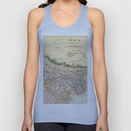 Vintage and Retro Map of Northern India Unisex Tank Top