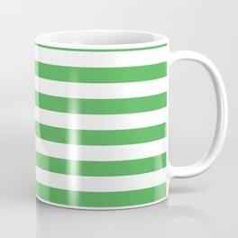 Even Horizontal Stripes, Green and White, M Coffee Mug
