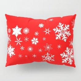 Red Christmas Snowflake  Banner Pillow Sham