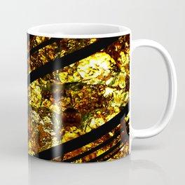 Gold Bars - Abstract, black and gold metallic, textured diagonal stripes pattern Coffee Mug