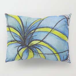 Zentangle Blue Yellow Flower Pillow Sham