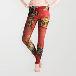 Dragon by Hokusai Leggings