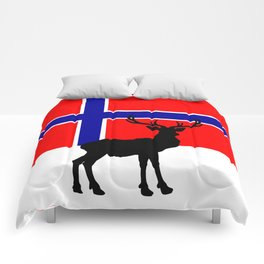 Norwegian Flag with Caribou Silhouette Comforters