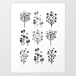 Black and white plant collage Art Print