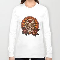 mexican Long Sleeve T-shirts featuring Mexican skull by Elisa Gandolfo