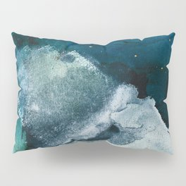 Untamed [2]: a vibrant minimal abstract design in blue gold and white by Alyssa Hamilton Art Pillow Sham