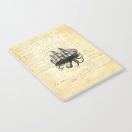 Kraken Octopus Attacking Ship Multi Collage Background Notebook