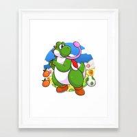 yoshi Framed Art Prints featuring Yoshi! by DoberJam