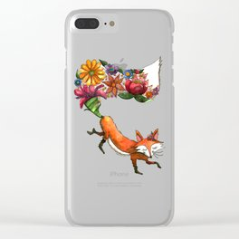 Hunt Flowers Not Foxes Clear iPhone Case