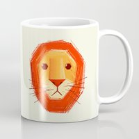 sad Mugs featuring Sad lion by Lime