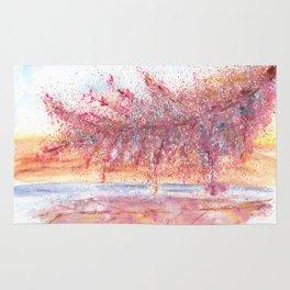 Pink Abstract Landscape Illustration Rug