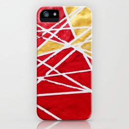 Golden Red Abstract Geometric Art (#1) iPhone Case