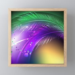 Purple Background with Feathers Framed Mini Art Print