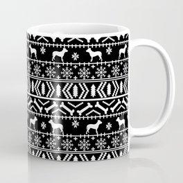 Pitbull fair isle christmas holidays black and white dog breed silhouette pattern Coffee Mug