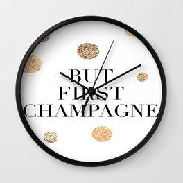 But First Champagne Print, But First Champagne Poster, Champagne Print, Bar Wall Art Wall Clock