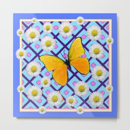 Yellow Butterfly on  Blue-pink Shasta Daisy Abstract Pattern Metal Print
