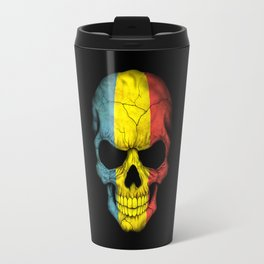 Dark Skull with Flag of Romania Travel Mug