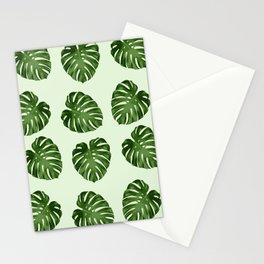 Palm Leaves, Leaf Pattern - Green Stationery Cards