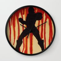 power ranger Wall Clocks featuring Red Power Ranger by Oksana's Art
