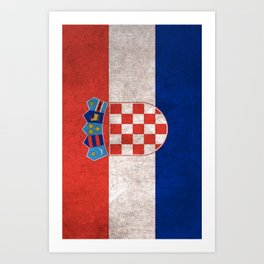 Croatia Flag (Vintage / Distressed) Art Print