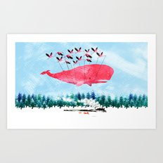 Flying Whale and steam train Art Print