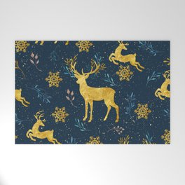 Golden Reindeer Welcome Mat