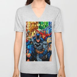 a collection of heroes Unisex V-Neck