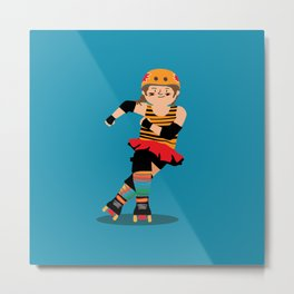 Roller Derby girl (light skin) Metal Print