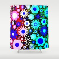 60s Shower Curtains featuring Psychedelic 60s Red Green Flower Pattern by Hippy Gift Shop