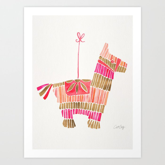 Mexican Donkey Piñata – Pink & Rose Gold Palette Art Print by catcoq