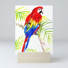 Scarlet Macaw, tropical bird, jungle Mini Art Print