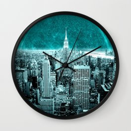 New New York Another World Aqua Teal Wall Clock
