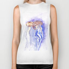 Jellyfish watercolor Biker Tank
