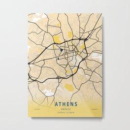 Athens Yellow City Map Metal Print