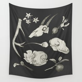Bones and Botanical Sketches Wall Tapestry