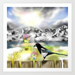 Magpie gift Art Print
