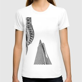 pyramid building and modern building and vintage style building at San Francisco, USA in black and w T-shirt