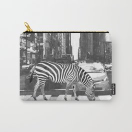 Black and White Zebra in NYC Carry-All Pouch