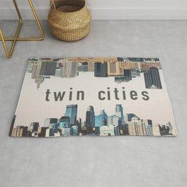 Twin Cities Minneapolis and Saint Paul Minnesota Skylines Rug