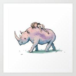 """"""" Wild Child & Rhino """" Art Print"""