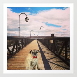 Pug on a Bridge Art Print