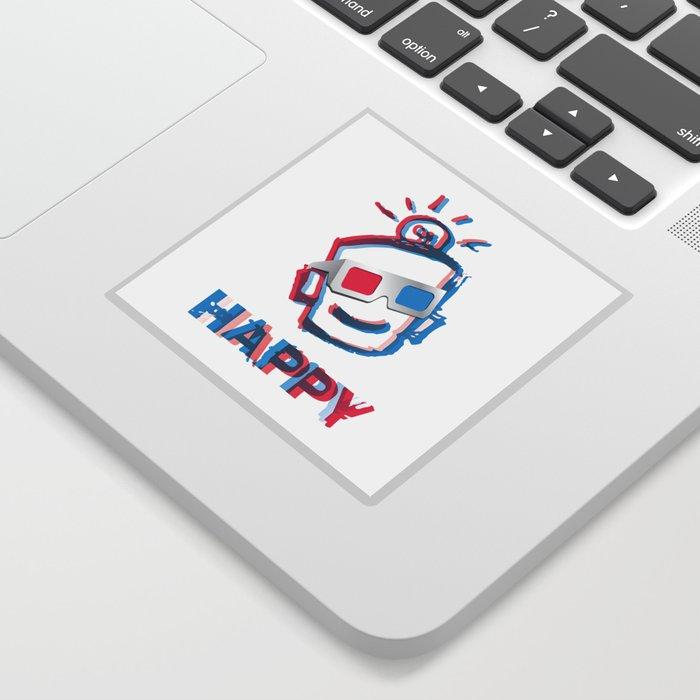 3D HAPPY Sticker